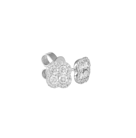 Small Clover Cluster Diamond Halo Stud Earrings