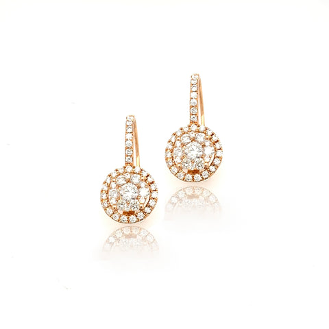 18K Round Illusion Halo Leverback Dangle Diamond Earrings