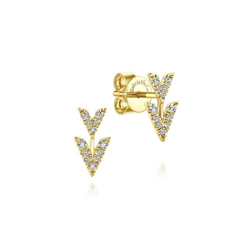 Yellow Double Arrow Pave Diamond Stud Earrings