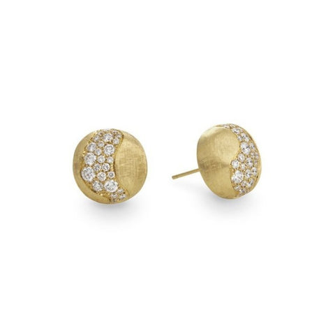 Africa Yellow Gold & Diamond Stud Ball Earrings