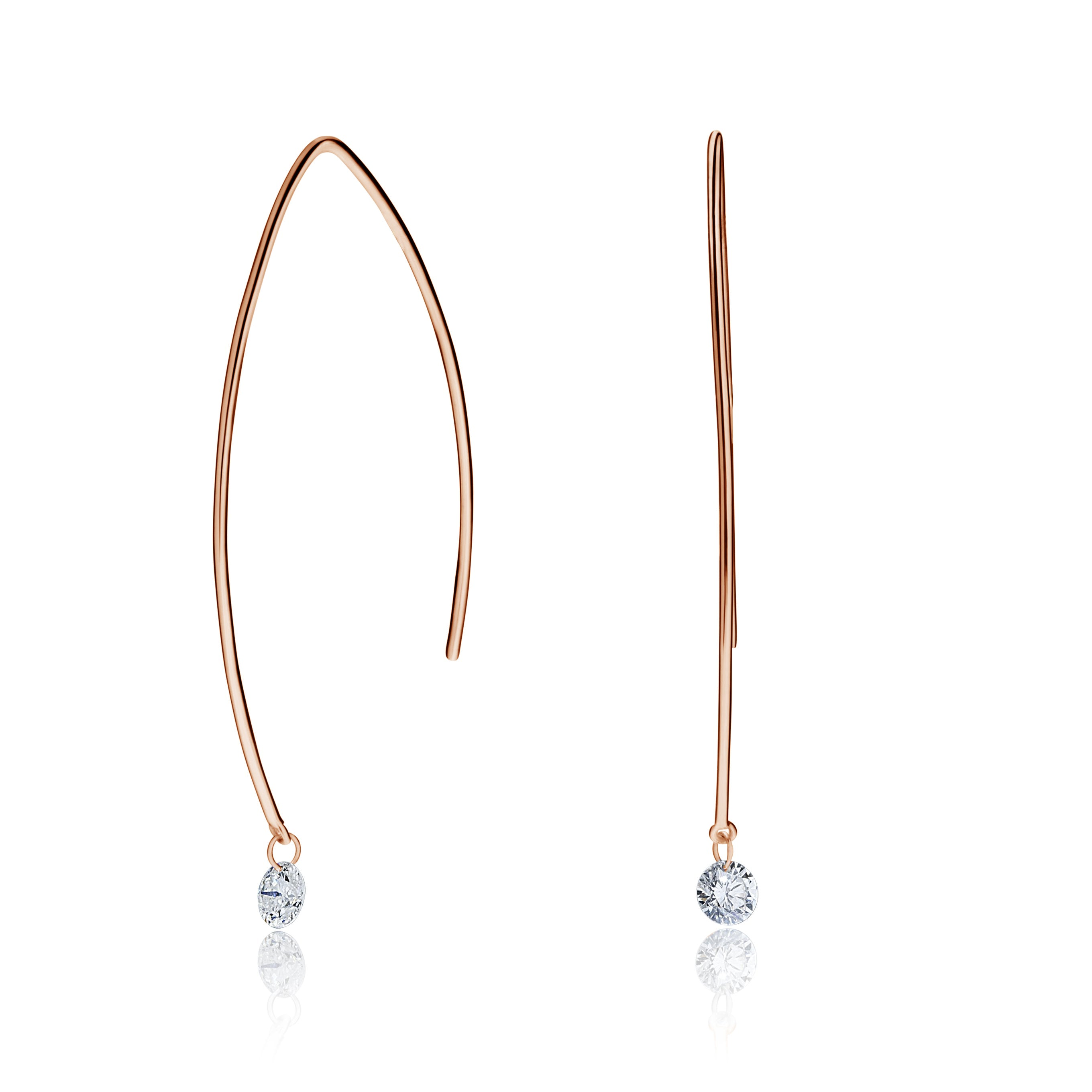 Delicate Long Drilled Round Diamond Drop Earrings
