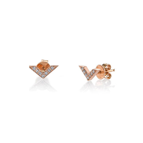 Rose Gold Chevron Diamond Stud Earrings