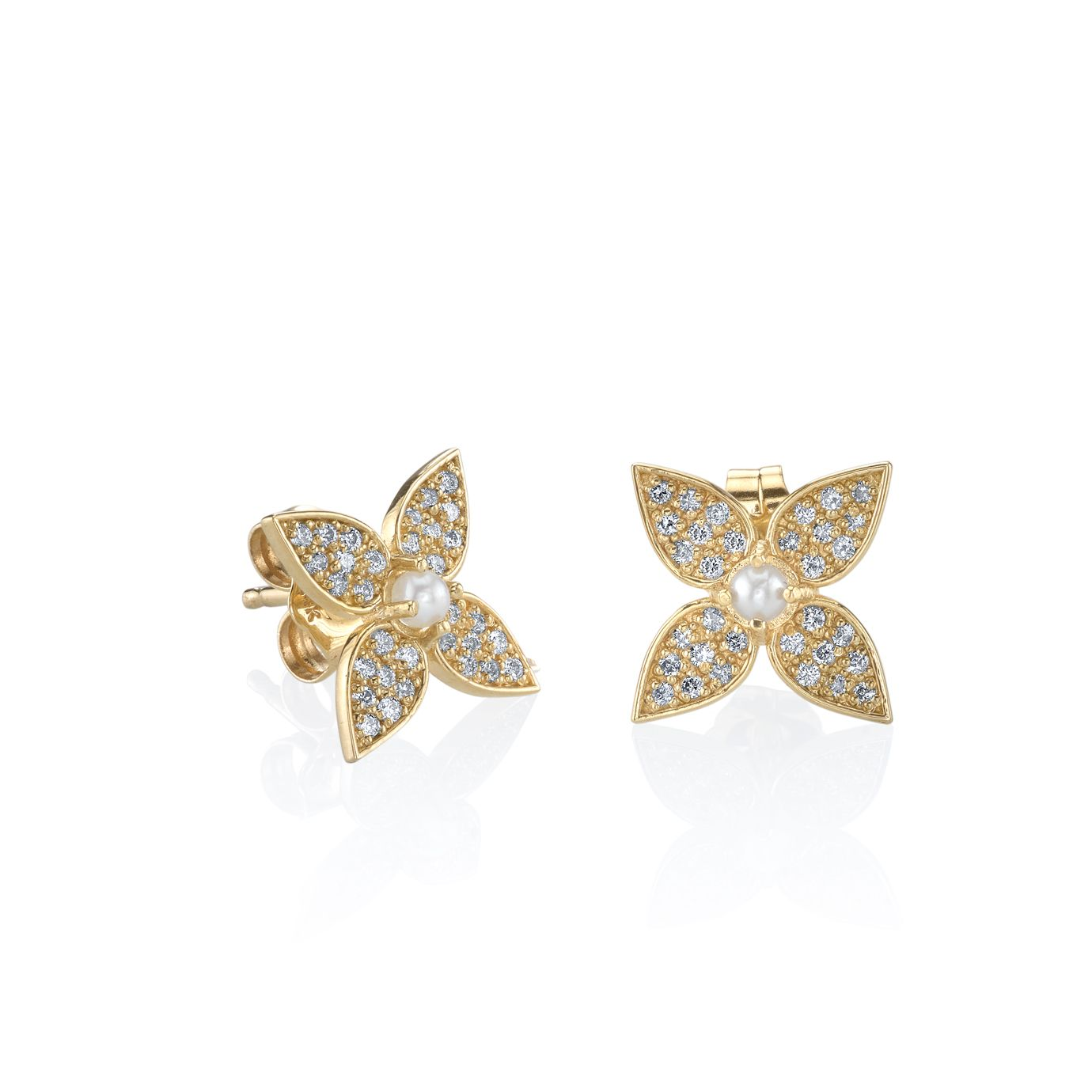 Paisley Diamond & Pearl Stud Earrings