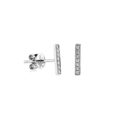 Tiny Bar Diamond Pave Stud Earrings