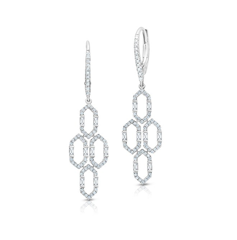 Open Art Deco Chandelier Round & Baguette Diamond Dangle Earrings
