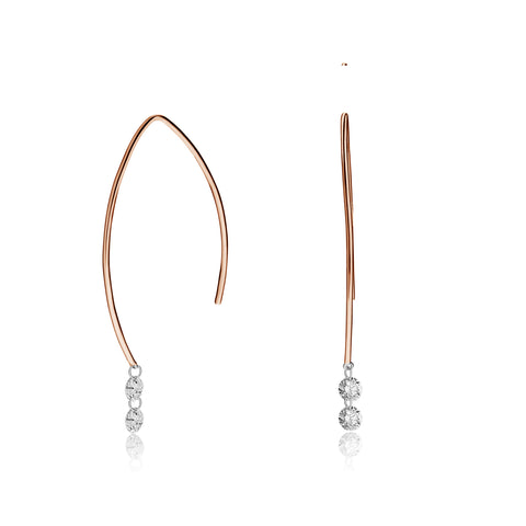 Delicate Short Drilled Double Round Diamond Drop Earrings