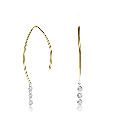 18K Delicate Short Drilled Triple Round Diamond Drop Earrings
