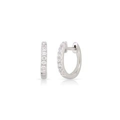 Petite Classic Pave Huggie Hoops