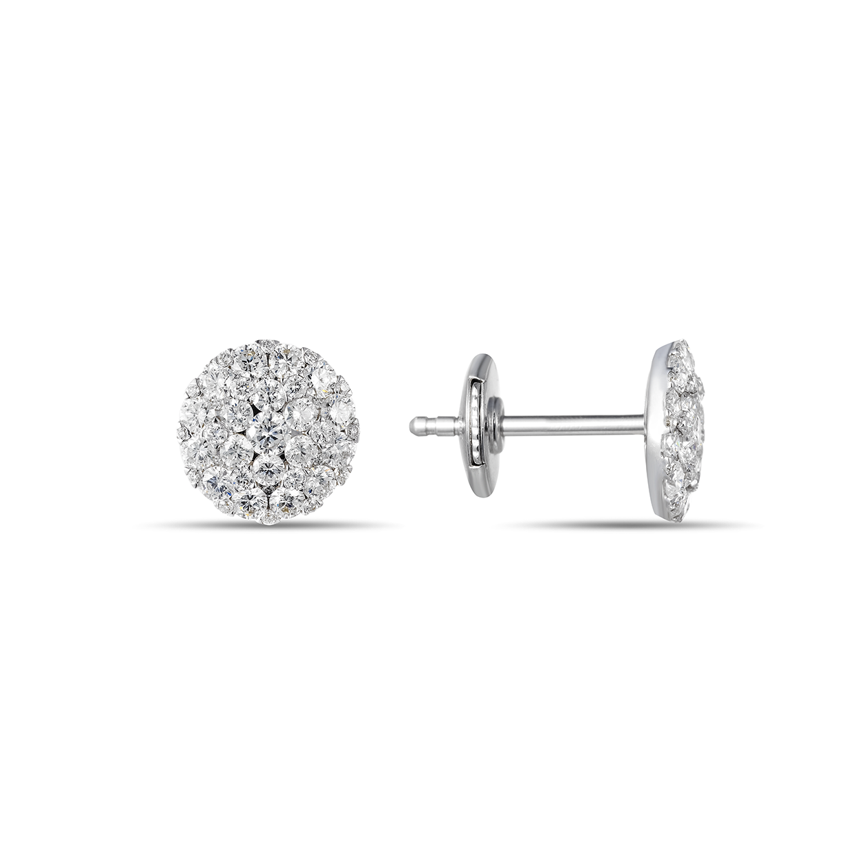Round Diamond Cluster Stud Earrings