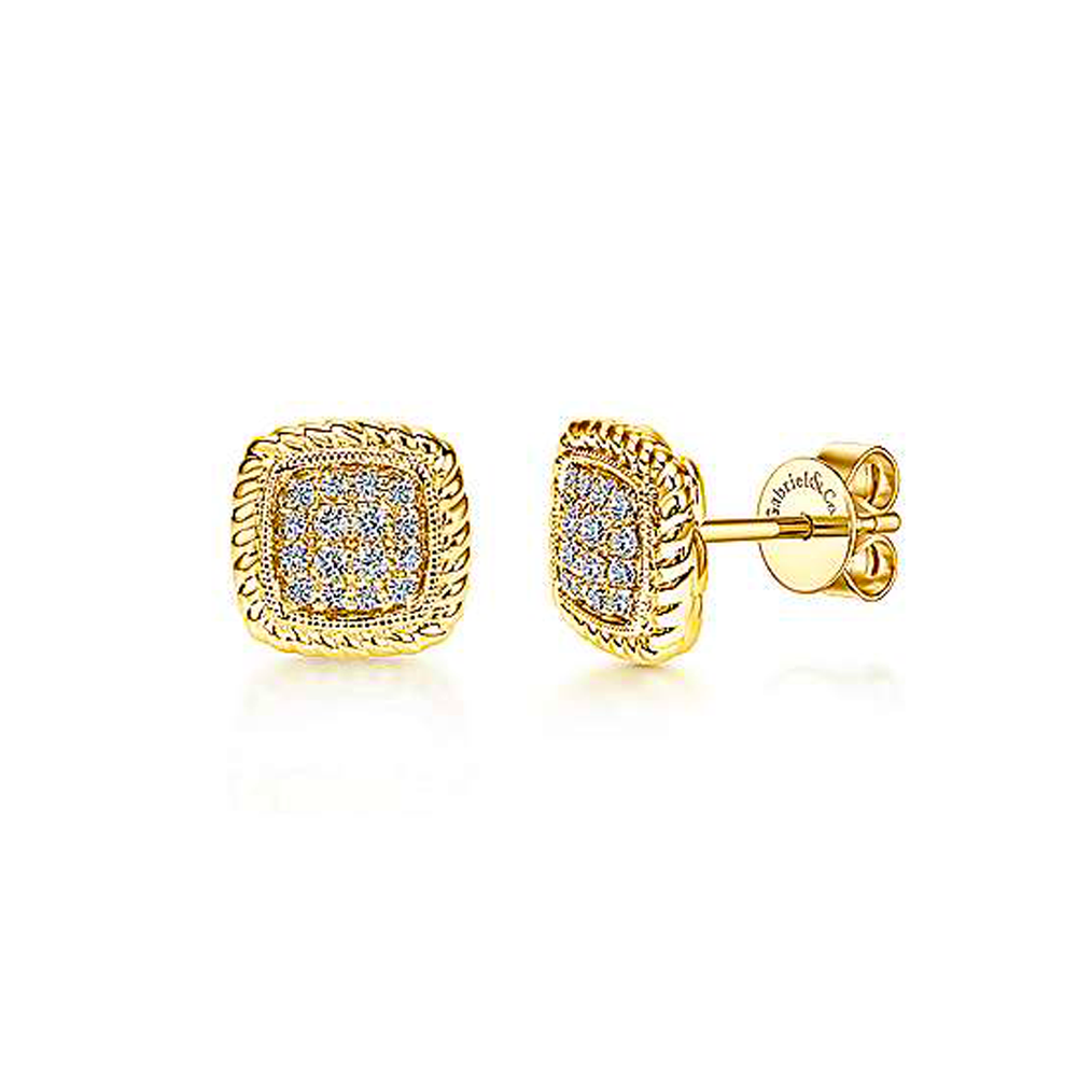 Square Pave Rope Milgrain Stud Earrings