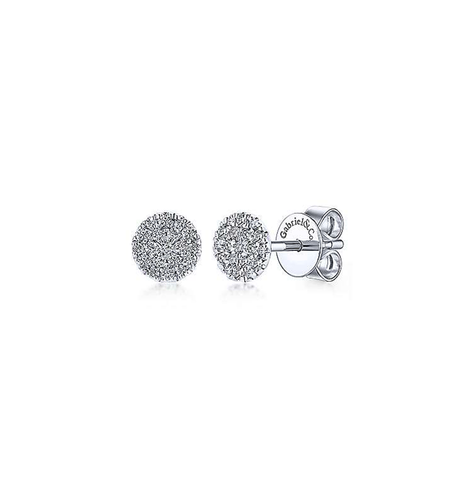 Tiny Round Diamond Pave Stud Earrings