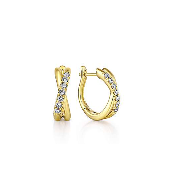 Yellow Double Cross Over Diamond Hoop Earrings