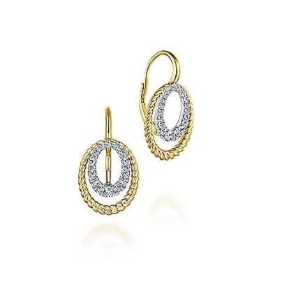 Two-Tone Double Open Oval Diamond Drop Earrings