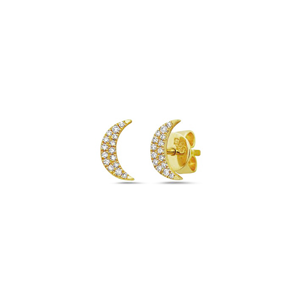 Mini Half Moon Diamond Pave Stud Earrings