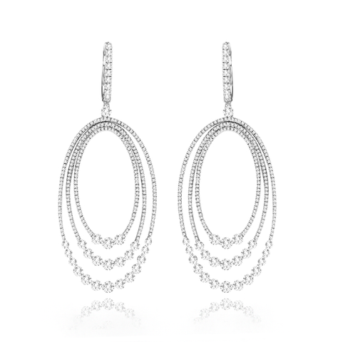 Statement Elongated Triple Oval Diamond Dangle Earrings
