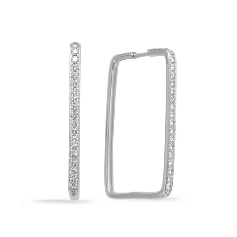 Large Rectangle Diamond Pave Hoop, 1.25ctw