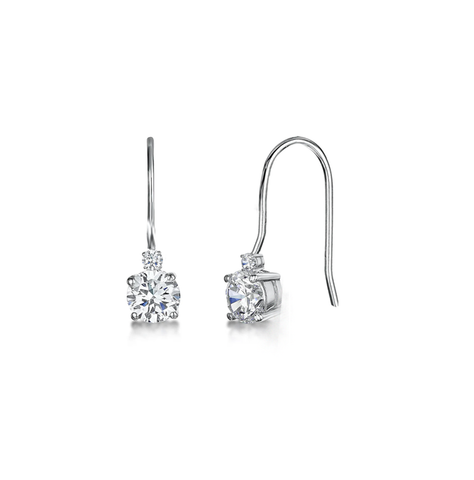 Double Station Diamond Drop Earrings