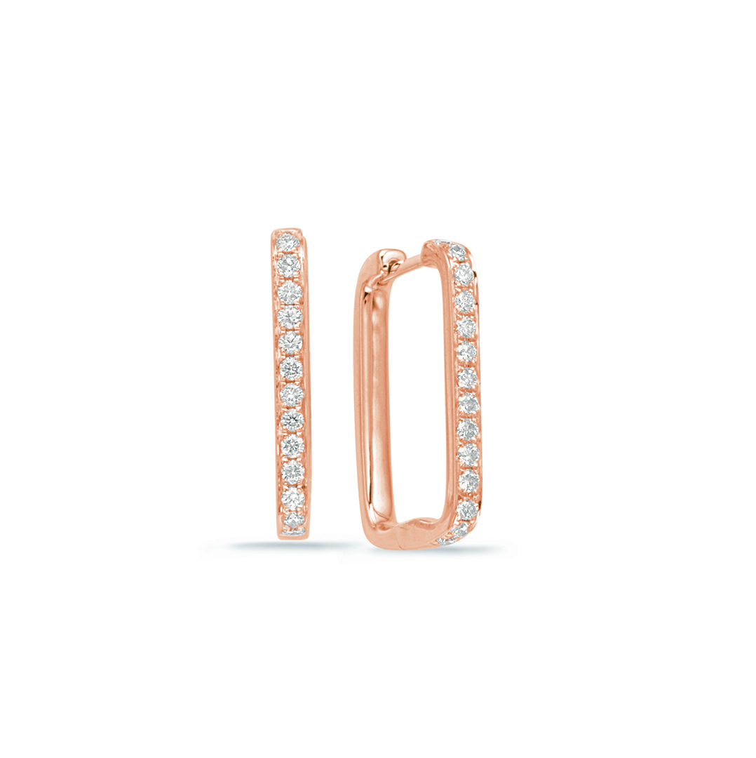 Small Rectangle Diamond Pave Hoop, .37ctw
