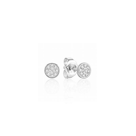 Mini Circle Pave Diamond Stud Earrings