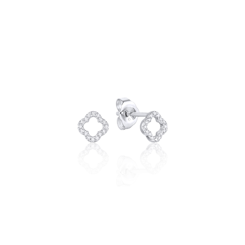 Mini Open Clover Pave Diamond Stud Earrings