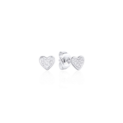 Mini Heart Pave Diamond Stud Earrings