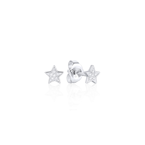 Mini Star Pave Diamond Stud Earrings