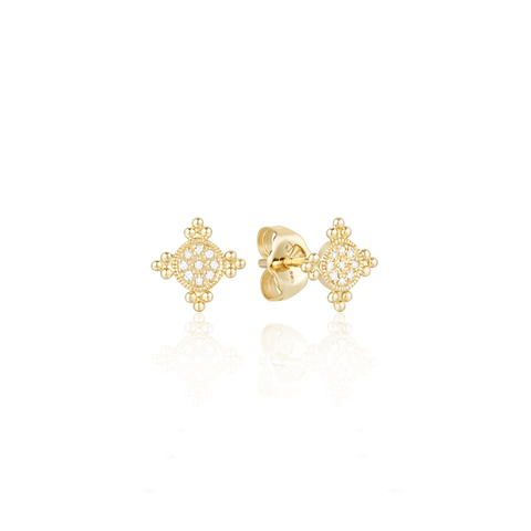 Tiny Beaded Medallion Diamond Pave Stud Earrings