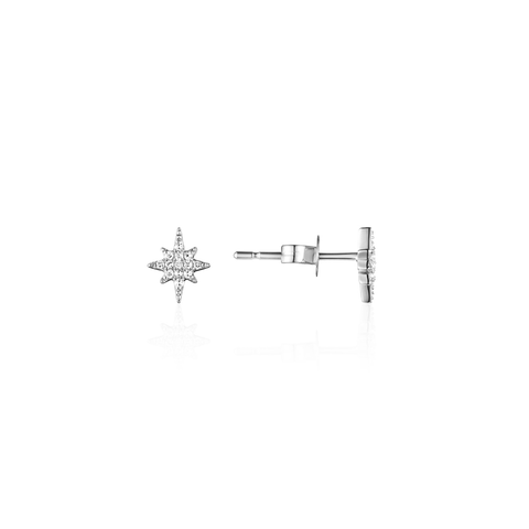 Mini Starburst Pave Diamond Stud Earrings