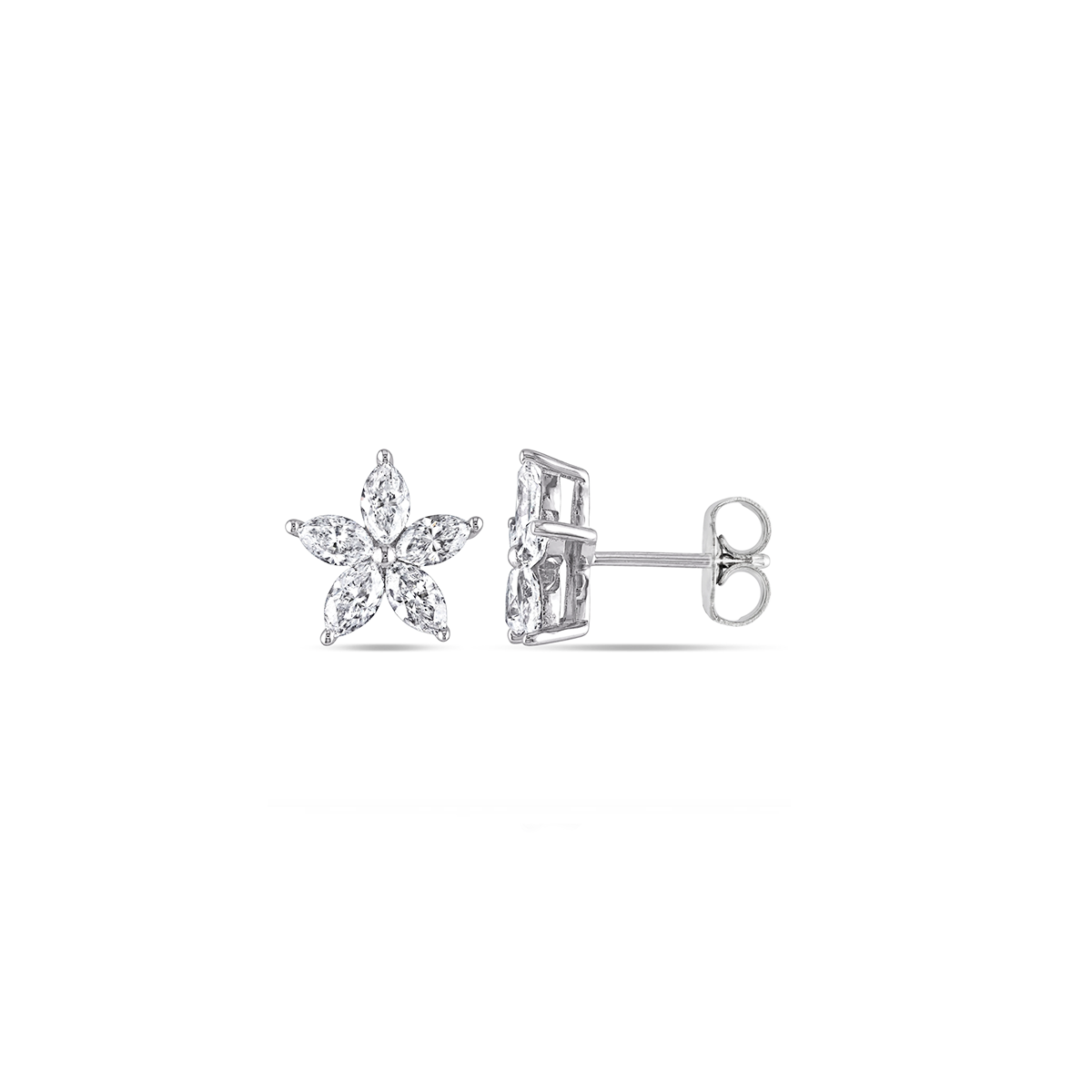 Petite Marquise Diamond Floral Stud Earrings