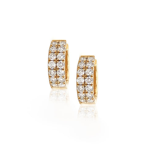 Large Double Row Petite Pave Huggie Hoops