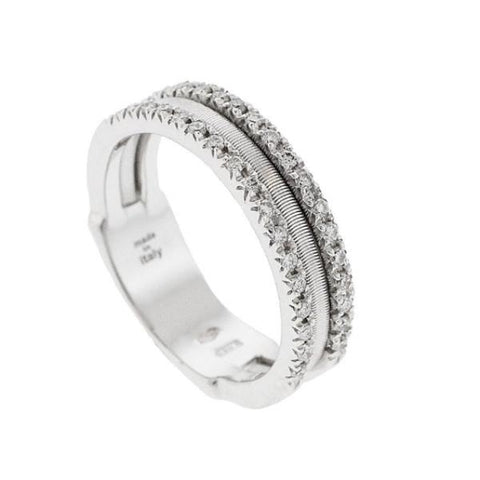 Goa White Gold Three Row Pave Diamond Ring