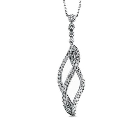 White Twist Drop Pendant with Diamonds
