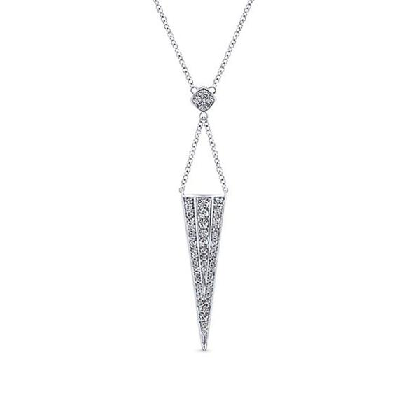 White Triangle Pave Dangle Necklace