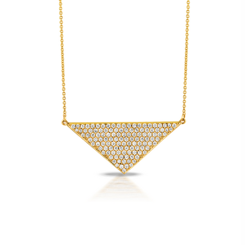 Yellow Diamond Pave Triangle Pendant