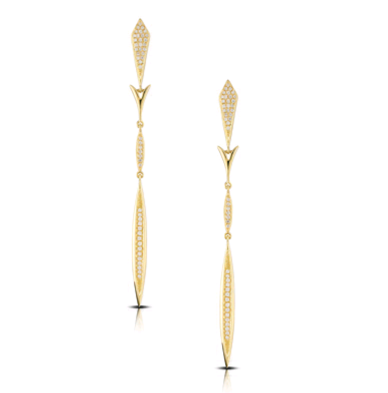 Elongated Kite & Marquise Station Pave Dangle Earrings
