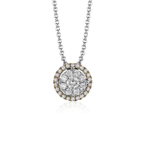 White and Rose Gold Halo Cluster Diamond Pendant