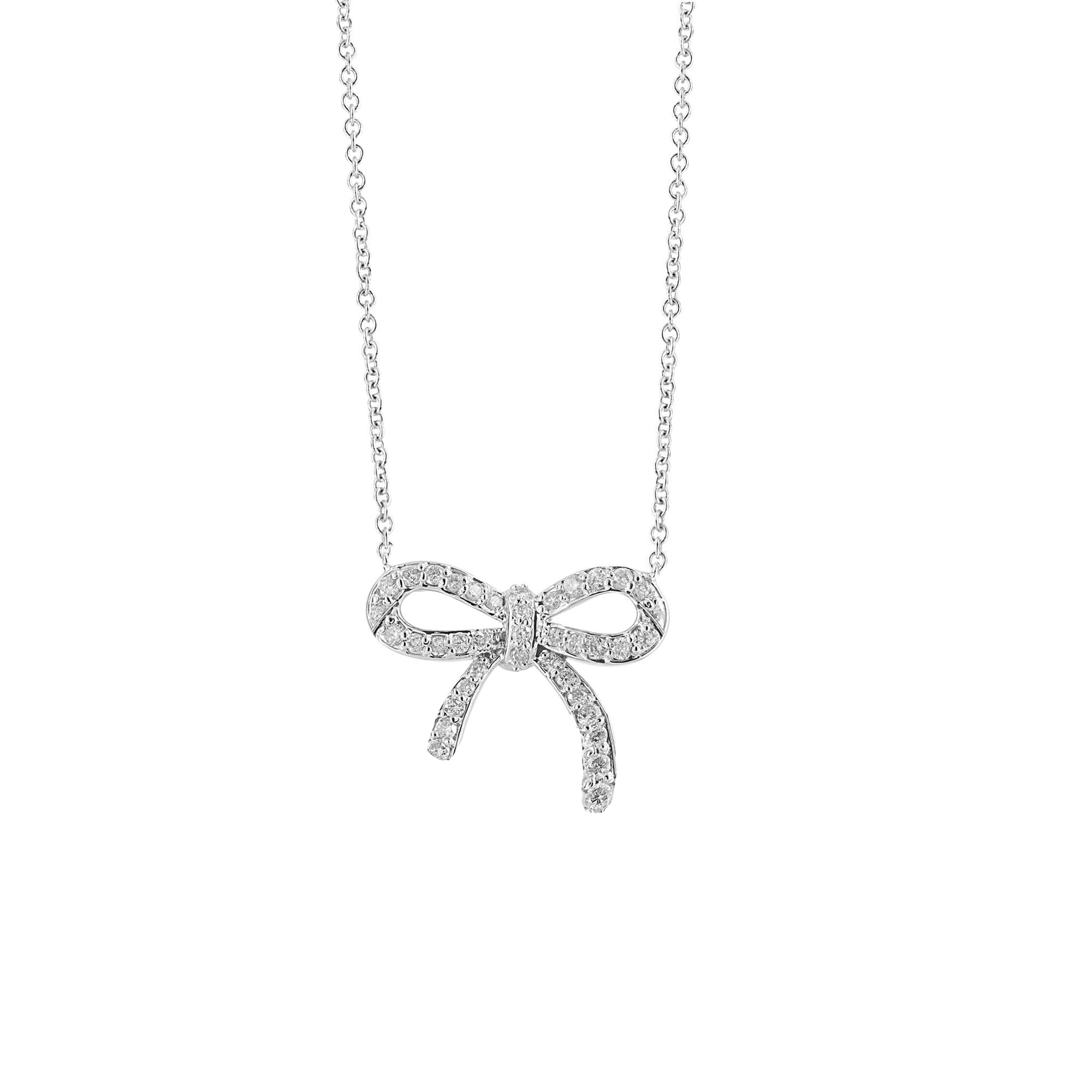 Small Diamond Pave Bow Pendant