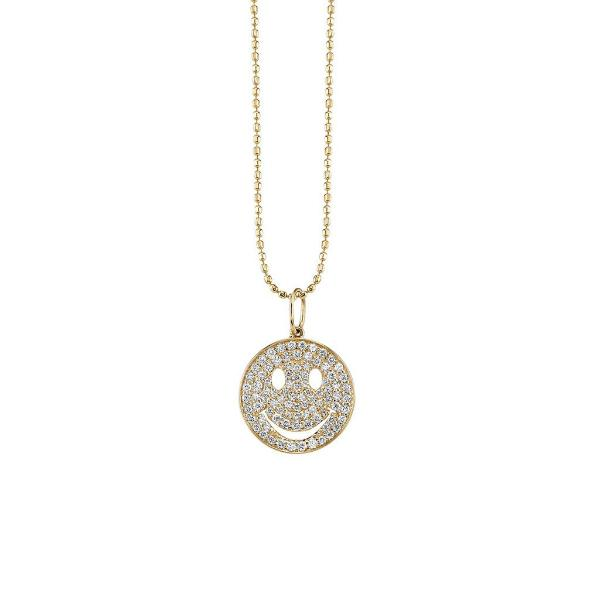 Yellow Diamond Pave Happy Face Small Pendant