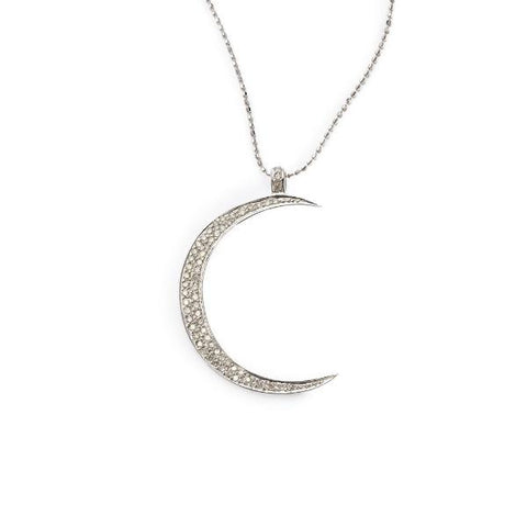 White Small Diamond Pave Moon Pendant