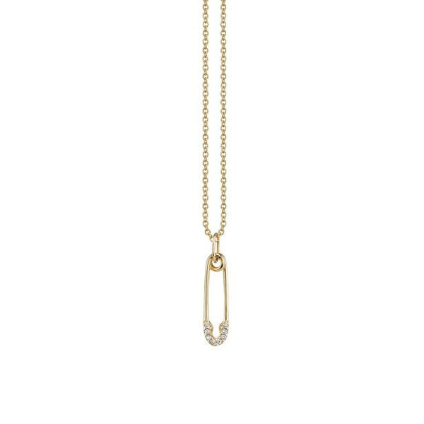 Yellow Small Diamond Pave Safety Pin Pendant