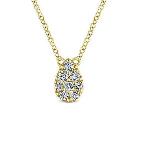 Yellow & Diamond Tear Drop Pave Necklace
