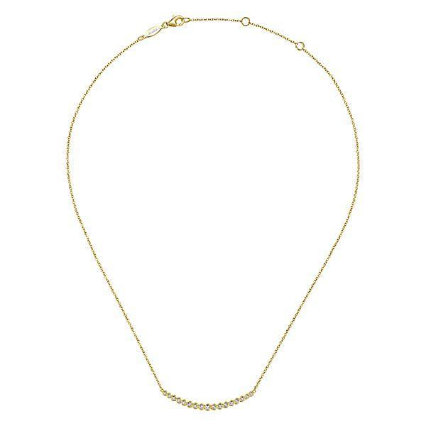Yellow Mini Round Bezel Set Bar Necklace
