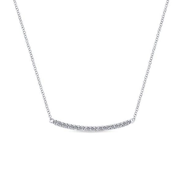 Delicate Diamond Pave Bar Pendant Necklace