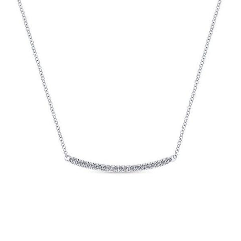 White & Diamond Bar Pave Necklace
