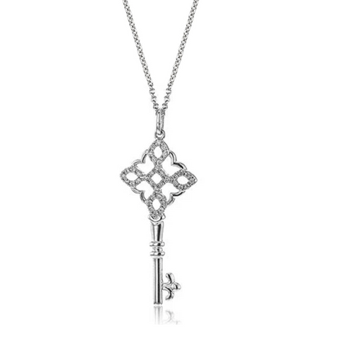 Diamond Pave Swirl Key Pendant