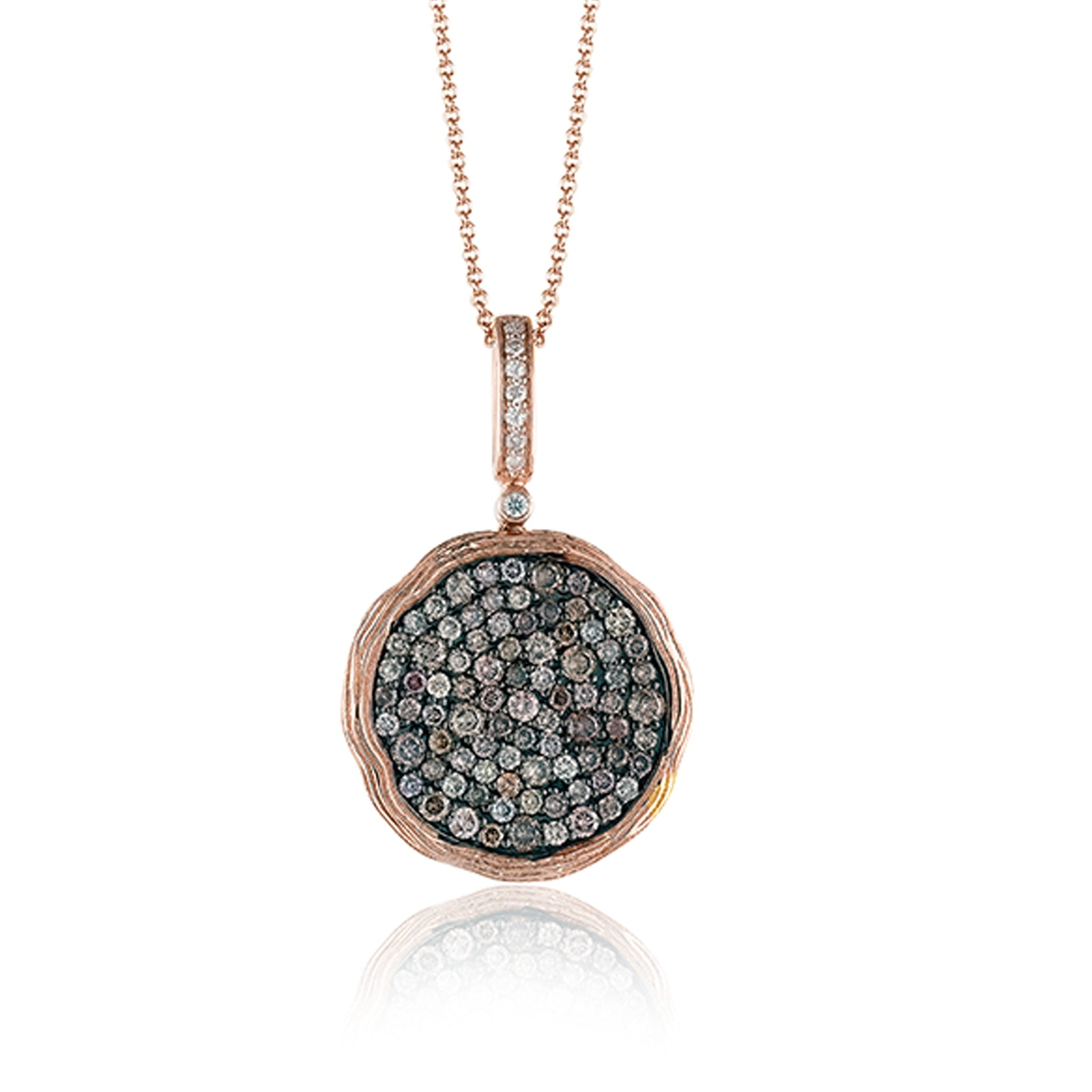 Large Diamond Pave Engraved Bezel Pendant