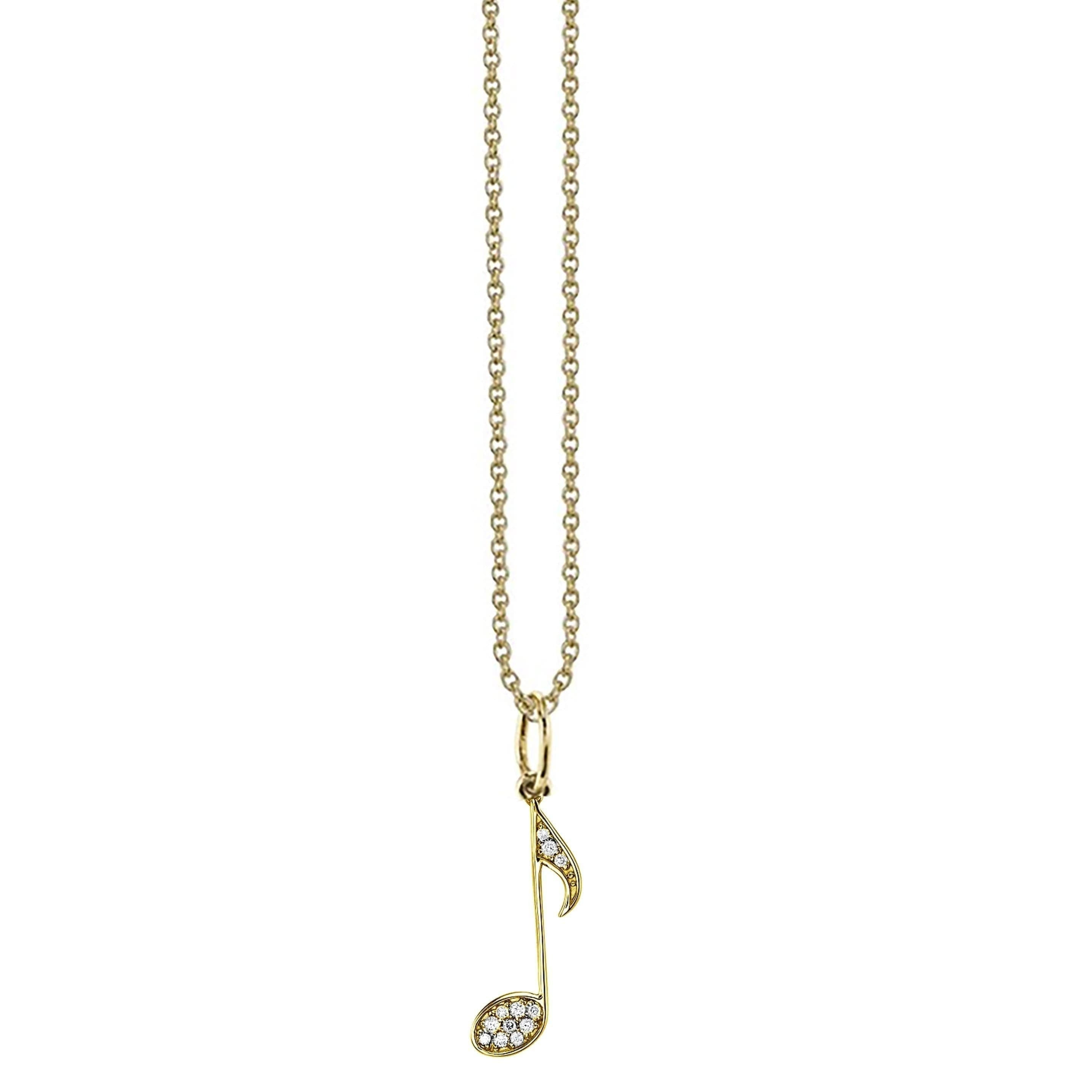 Yellow Diamond Music Note Pendant