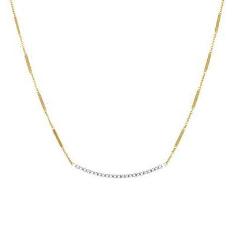 Goa Gold Pave Diamond Bar Necklace