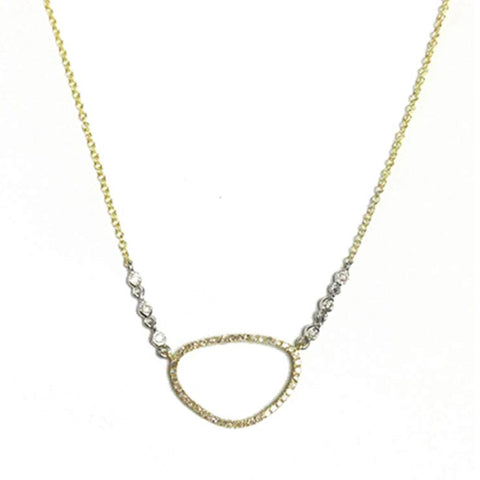 Yellow Open Circle Pave & Bezel Set Diamond Necklace