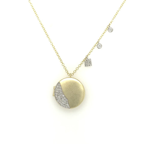 Yellow Gold Round Pave Locket & Bezel Set Chain Diamond Necklace